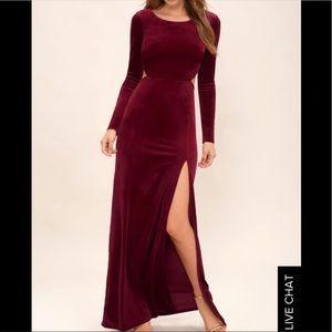 Lulus Besame Burgundy Velvet LongSleeve Maxi Dress